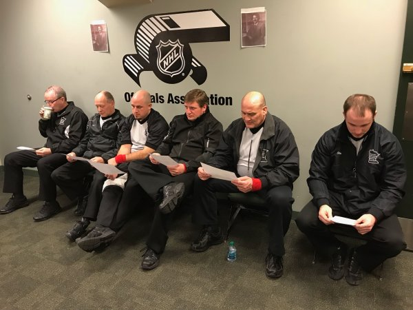 SMWOA refs studying before the State Tournament